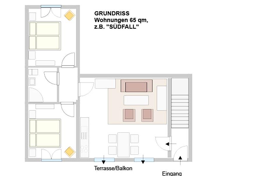"Grundriss ""Südfall"" Tholenhof St. Peter-Ording Nordsee"